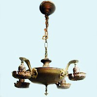 Antique Brass four Arm Light Fixture, 1928