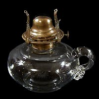 Antique Clear Kerosene Finger Lamp Base, 1900's