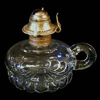 Antique Clear Kerosene Finger Lamp, 1900's
