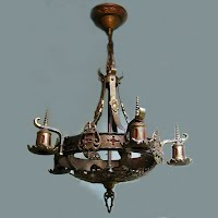 Antique Arts and Craft Metal Hanging Light, 1890