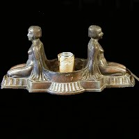 Antique Art Deco Twin Nudes Lamp, 1920's
