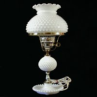 Vintage White Milk Glass Hobnail Table Lamp, 1960's