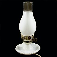 Vintage White Milk Glass Lamp, 1960's