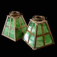 Antique Green Glass Shade with Brass Trim, 1910-1930