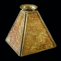Antique Arts and Craft Slag Glass Shade with Brass Frame
