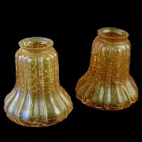 Antique Amber Crackle Glass Shades (2), 1930's