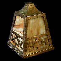 Antique Slag Glass Shade, Brass Frame