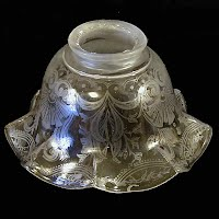 Antique Etched Clear Glass Shade, 1900's