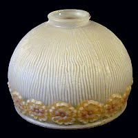 Antique Frosted Glass Shade with flower design, 1930's