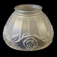Vintage Frosted Glass Shade with Rose