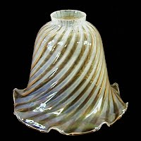 Antique Amber and White Swirl Glass Shade, 1960's