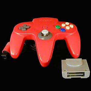 Vintage Original Red Nintendo 64 Controller with Memory Card