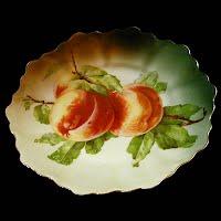 Antique hand painted porcelain peaches fruit plate