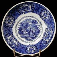 Antique Flow Blue Transfer Egyptian Scene Bowl