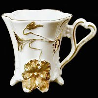 Antique Porcelain White and Gold Cup