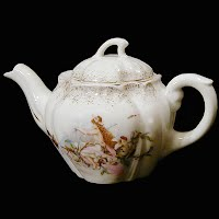 Antique Porcelain Small Teapot, fairy with flower blossom