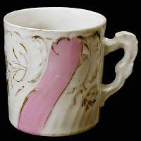 Antique Porcelain Mug pink luster and gold
