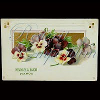 Antique Advertising Postcard, Kranich and Bach Pianos