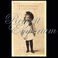 Antique Advertising Postcard, Thursday Shopping 1907