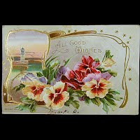 1911 Antique Embossed Postcard, Best Wishes
