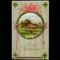 1913 Antique Gel Postcard, Best Wishes