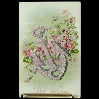 1908 Antique Embossed Postcard, Best Wishes