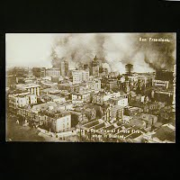 Antique Photo Postcard, Bird's Eye View of Frisco fire when it started