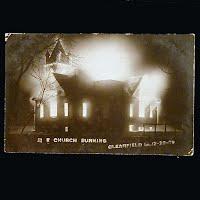 Antique Photo Postcard, Church Burning 1909