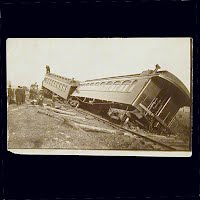 Antique Photo Postcard, Train Derailment