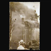 Antique Photo Postcard, Rochester Minnesota Central Building on Fire 1910