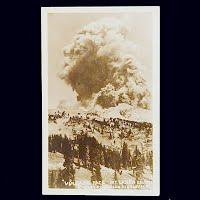 Antique Photo Postcard, Vulcan's Face Mt. Lassen Erupting