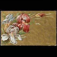 1910 Antique Postcard, Flower