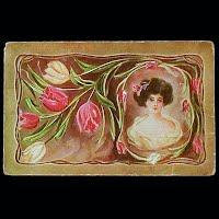 1911 Antique Postcard, Lady &amp Flowers