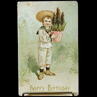 Antique Gold Embossed Birthday Postcard