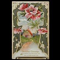 Antique Birthday Postcard, postmark 1909
