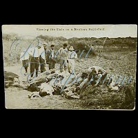 Real Photo Antique Postcard, Mexican Revolution, Viewing the Slain on a Mexican Battlefield