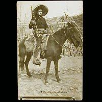 Real Photo Antique Postcard, Mexican Revolution, A Mexican Calvalryman