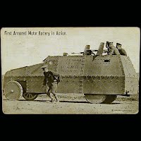 Real Photo Antique Postcard, World War I First Armored Motor Battery in Action