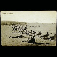 Real Photo Antique Postcard, World War I Troops in Action