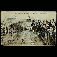 Real Photo Antique Postcard, H H Stratton American Soliders viewing a Mexican Troop Train
