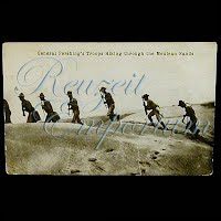 """Real Photo Antique Postcard, H H Stratton General Pershing's Troop Hiking through Mexican Sands"""""""