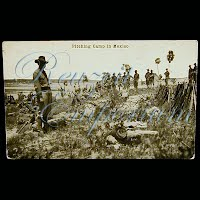 Real Photo Antique Postcard, Mexican Revolution, H H Stratton Pitching Camp in Mexico