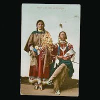 1908 Antique Photo Postcard, Ute Chief and his Squaw