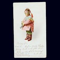 1905 Antique Photo Postcard, Indian Child