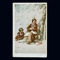 Antique Photo Postcard, Ella of Ganado weaver of President's Balankets