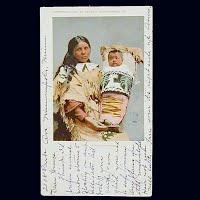 Antique Photo Postcard, Proud Indian Mother