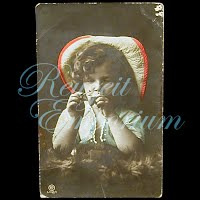 antique 1908 Girl with pipe