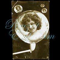 Antique  Girl with Bubble Pipe Postcard