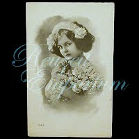 Antique 1913 Girl with Roses Postcard