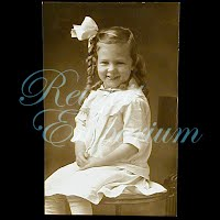 Antique Girl with Bow Postcard